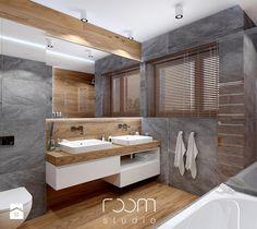 Aranżacje wnętrz - Łazienka: Łazienka szara z drewnem - Łazienka, styl nowoczesny - ROOM STUDIO. Przeglądaj, dodawaj i zapisuj najlepsze zdjęcia, pomysły i inspiracje designerskie. W bazie mamy już prawie milion fotografii!