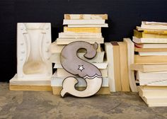 Retro Carnival Style Wood Letter S Gray and White for samantha