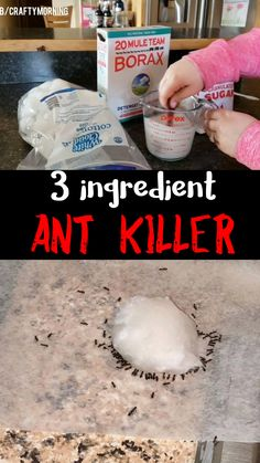 CONTRA LAS HORMIGAS: Make this 3 ingredient ant killer recipe to kill all your ants within 24 hours! It works! Borax recipe for summer time great in kitchens bug killer.