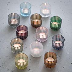 12-pak Lyngby stagen 6,5 cm alle farver Kitchen Roll Holder, Water Carafe, Modern Candle Holders, Tea Light Holder, White Porcelain, All The Colors, Clear Glass, Tea Lights, Decorative Bowls