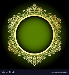 Green and gold frame Royalty Free Vector Image , Golden Background, Background Images, Free Vector Images, Vector Free, Gold Photo Frames, Wedding Invitation Background, Bg Design, Globe Vector, Wedding Album Design