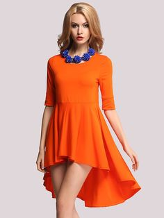 Orange Mermaid Commuter Dovetail Dress with Irregular Hem