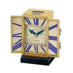 Art Deco Gold, Platinum, Enamel and Black Onyx Miniature Desk Clock, Cartier, France, European Watch & Clock Co.