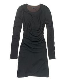 Wrap-Style DressYou already know that black is slimming, but this LBD provides additional benefits: diagonal draping to carve out a waistline and a substantial (not T-shirt–thin) wool-blend jersey that won't reveal every lump and bump on your body.