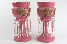 PAIR OF AMERICAN VICTORIAN PINK GLASS LUSTRES, hand enameled