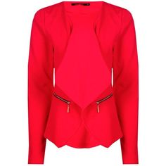 Boohoo Florence Zip Crepe Blazer ($30) ❤ liked on Polyvore featuring outerwear, jackets, red blazers, red duster coat, duster coat, longline bomber jacket and red blazer jacket