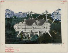 Ron Herron. Walking City on the Ocean, project (Exterior perspective). 1966