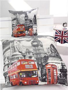 London Bus Bedding | Single Duvet Cover Set | London Bedroom