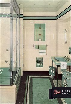Pittsburgh Glass Bathroom 1937 by American Vintage Home 1930s Bathroom, Mid Century Bathroom, Art Deco Bathroom, Vintage Bathrooms, Glass Bathroom, Bathroom Designs, Bathroom Ideas, Downstairs Bathroom, Bathroom Renovations
