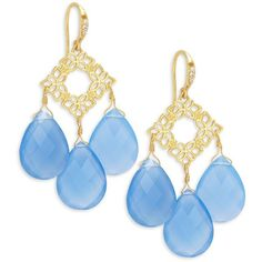 Indulgems Floral Blue Chalcedony Drops Earrings (5,790 INR) ❤ liked on Polyvore featuring jewelry, earrings, fish hook jewelry, blue chalcedony earrings, earring jewelry, fishhook earrings and indulgems