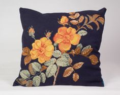 70s Floral Sitched Cushion / Petit Point by mammaschesthome