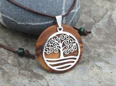 Necklace olive wood Tree of Life leather brown stainless steel wooden alentejoazul talismanhippy boho natural jewelry portuguese portugal