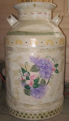 decorative paint by Michele Donohue on milk can, lilacs & roses