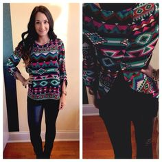 Tribal Printed 3/4 Sleeve Top