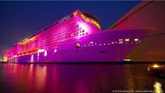 Quantum of the Seas lit up for the Papenburg Music Festival.