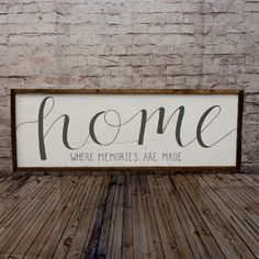 """""""Home Where Memories Are Made"""" Rustic Wood Sign Mantle Decor"""