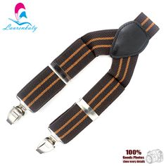 MBD8308 Fashion Brown & Coffee striped elastic male suspenders Leather 3clips & 110cm length with 3.5cm width male braces