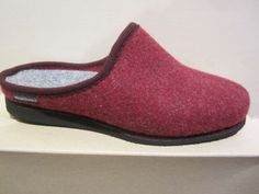 Frankenwald-Womens-Slipper-Slippers-with-Wool-felt-lining-red-Footbed-NEW