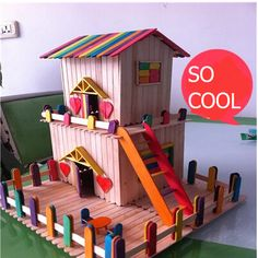 So Much Fun For Creative Kids 2015 New Wooden Craft Diy Castle Building With Wood Slices And Sticks Wood Home Decoration