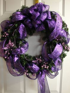 Purple Christmas Wreath - Absolutely a good possibility! Purple is perfect for Advent! Purple Christmas Tree, Christmas Colors, Christmas Holidays, Christmas Crafts, Purple Christmas Decorations, Ribbon Decorations, Christmas Tables, Xmas Trees, Coastal Christmas
