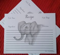 Recipe Cards / Elephant Recipe Card Set / Cooking Recipe Cards / Cooking Direction Cards / Baking Recipe Cards / Recipe Index Cards 16 pc by LoraArtandStationery on Etsy