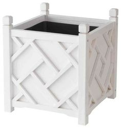 DMC 18 in. Square White Chippendale Planter-70210 at The Home Depot - other - josmud