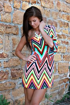 Keep Calm and Chevron One Shoulder Dress