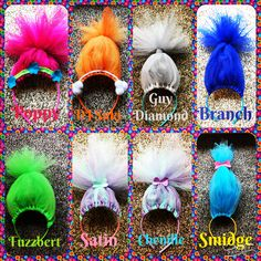 Troll headband birthday party favors.  Made with tulle and headbands.