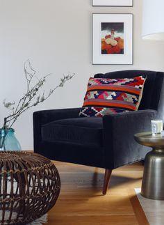 I Make Emily Henderson Cry Living Room Makeover I love this vintage kilim rug pillow and Franco Albini ottoman.