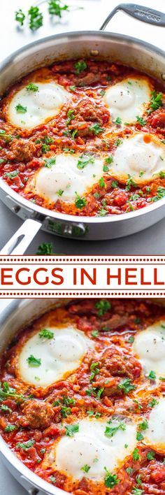 Eggs In Hell with Italian Sausage - Sometimes called Eggs in Purgatory or shakshuka, this easy dish includes eggs poached in tomatoes with sausage and garlic for tons of FLAVOR! Perfect for breakfast, brunch, or breakfast-for-dinner! Sausage Recipes, Egg Recipes, Brunch Recipes, Breakfast Recipes, Dinner Recipes, Cooking Recipes, Healthy Recipes, Breakfast Ideas, Paleo Dinner