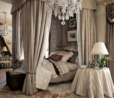 the Ralph Lauren royal treatment  {I'd loose the excessive shams and the draped table}