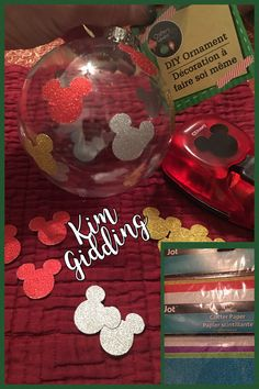 Dollar tree adhesive glitter paper Mickey Mouse punch and Dollar tree plastic ornament. Disney Christmas Crafts, Mickey Mouse Christmas Tree, Mickey Mouse Ornaments, Mickey Mouse Crafts, Disney Christmas Decorations, Mickey Y Minnie, Christmas Tree Themes, Diy Christmas Gifts, Kids Christmas