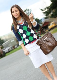 Argyle sweater over a chambray button down. Love the subtle color-block belt and necklace too :)