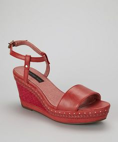 Red Sandrine Platform Sandal by Calvin Klein Jeans on #zulily today!