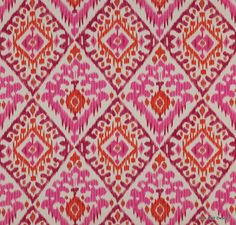 "Manuel Canovas , ""Boheme"" Pink and Orange, Printed Linen, Curtain, Upholstery Fabric, From Jane Hall"