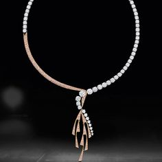 Shape and form inspired by The Royal Ballet makes up new pas de deux high jewellery collection - shown here diamond drop necklace set with pink and white diamonds Pink Diamond Necklaces, Diamond Necklace Simple, Diamond Pendant Necklace, Diamond Jewelry, Diamond Earrings, Drop Necklace, Gold Jewelry, Gold Necklace, Luxury Jewelry