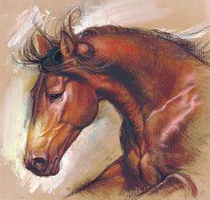 English Horse Variant 1  by Romanian based artist, Zorina Baldescu