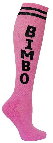 Pink knee high socks with BIMBO in black lettering Pink Knee High Socks, Rocker Style, Submissive, Hosiery, Favorite Color, Purses And Bags, Fashion Beauty, Barbie, Stockings