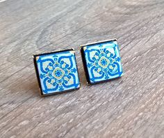 Portuguese tiles replica stud earrings Portuguese jewelry by XTory