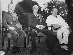 The Allied leaders of the Asian and Pacific Theaters: Generalissimo Chiang Kai-shek Franklin D. Roosevelt and Winston Churchill meeting at the Cairo Conference in 1943.