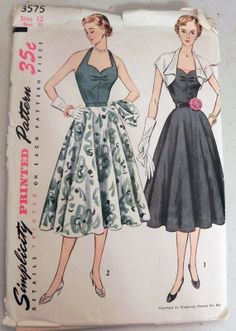 Simplicity 3575 1950s Dress and Bolero sewing by retroactivefuture, $35.00