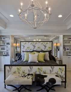Don't really like the headboard, but love the idea of a plain comforter and designed pillows