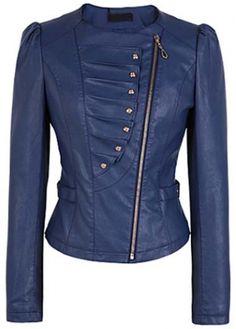 Charming Long Sleeve Blue PU Jacket with Zipper