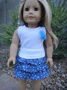 No Pattern Ruffled Skirt for American Girl Dolls   Free Sewing Pattern for American Girl Dolls