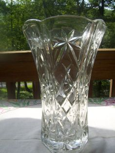 Anchor Hocking Vintage clear Crystal cut glass Vase by MimmysAttic, $25.00