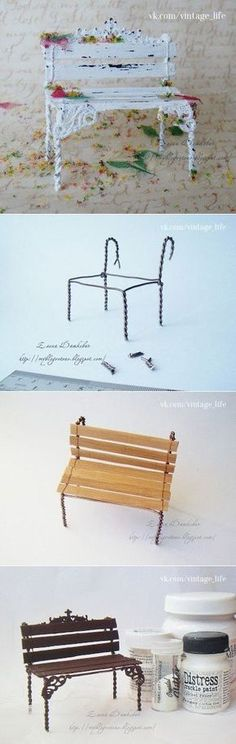 15 idee per delle miniature in tazza + tutorial Park bench for dollhouse/Miniature. not in English great pictures. Fairy Furniture, Barbie Furniture, Miniature Furniture, Dollhouse Furniture, Furniture Vintage, Miniature Crafts, Miniature Fairy Gardens, Miniature Dolls, Miniature Houses