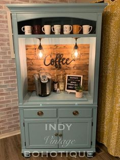 Custom Armoire Coffee Bar, beverage bar, wine bar, rustic coffee bar, coffee cabinet - You are in the right place for diy clothes Here we present diy home decor you are looking for - Coffee Bar Signs, Coffee Bar Home, Home Coffee Stations, Coffee Bar Ideas, Wine And Coffee Bar, Diy Coffe Bar, Office Coffee Station, Coffee Station Kitchen, Coffee Bottle