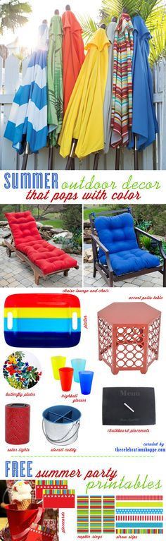Red, White and Blue Outdoor Furniture and Patio Ideas + Free BBQ Party Printables from Kim of thecelebrationshoppe.com #outdoorentertaining