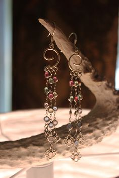 Spiral Multi color Glass chip earring by Paoniasage on Etsy