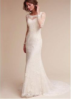 Gorgeous Lace & Satin Scoop Neckline Sheath Wedding Dresses With Beaded Lace Appliques